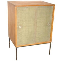 Paul McCobb Planner Group, Iron Stand and Grasscloth Cabinet