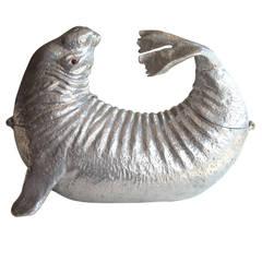 Arthur Court, Mid Modern Sea Lion Aluminum Ice Bucket, Wine Cooler