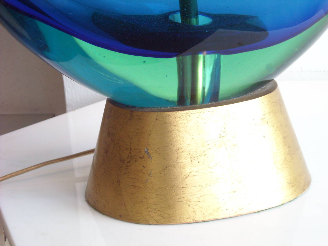Great Murano lamp by Flavio Poli. Over all measures diameter 14 total high 27 inches.