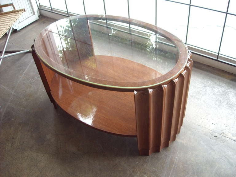Rohde Or Frankl Style Art Deco Coffee Or Cocktail Side Table With Glass Top At 1stdibs