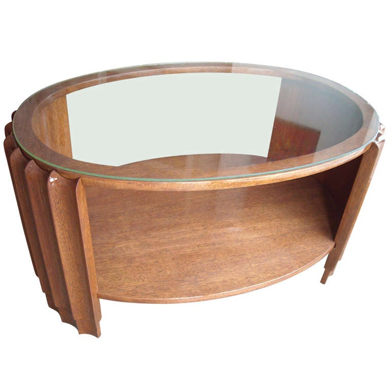 Marvelous Rohde Or Frankl Style Art Deco Coffee Or Cocktail / Side Table With Glass  Top 1