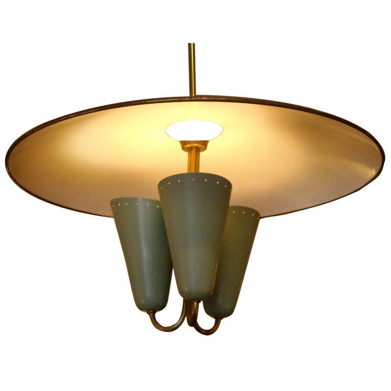 Gill glass & fixture Co chandelier/pendant  in the style of Gino Sarfatti