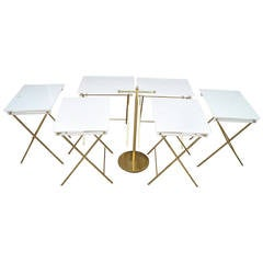 Charles Hollis Jones Set of Six Acrylic and Brass Serving Tray Tables and Stand