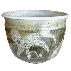 Joel Edwards Large Stoneware Bowl or Planter Signed, Abstract