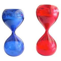 Paolo Venini for Venini Murano Glass Two Clessidre Hourglasses
