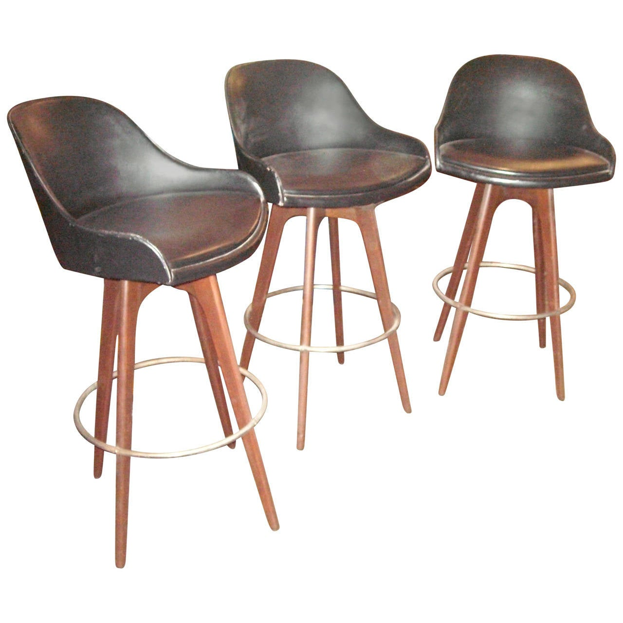 plycraft attributed one set of three bar stools at 1stdibs. Black Bedroom Furniture Sets. Home Design Ideas