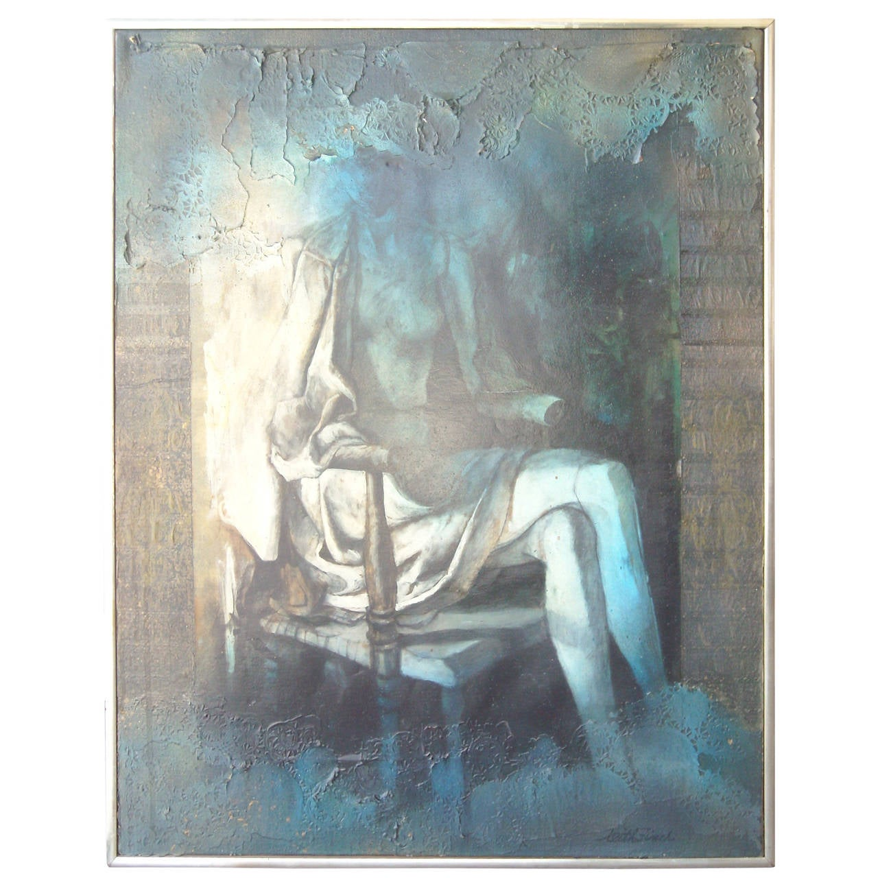 Keith Finch Oil Painting, Collage/Canvas, Signed Title Landau Gallery, Abstract