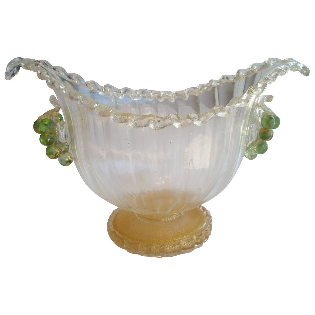 Ercole barovier murano glass and gold centerpiece or vase