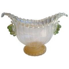 Ercole Barovier Murano Glass and Gold Centerpiece or Vase for Artistica Barovier