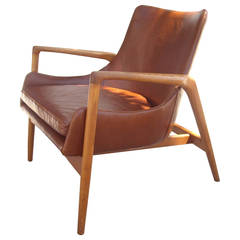 Ib Kofod-Larsen Denmark Mid-Century Easy Lounge Chair, Oak, Leather