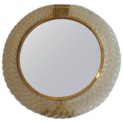Barovier Murano Table/Vanity/Desk, Brass, Gold, Glass Dust Mirror, Part Label