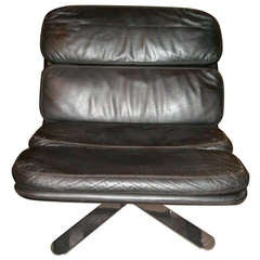 """John Follis """"Solo"""" Chair in Leather and Chrome, for Fortress"""