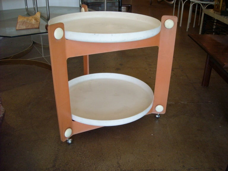 Great vintage plastic Guzzini two tier cart with removable trays.