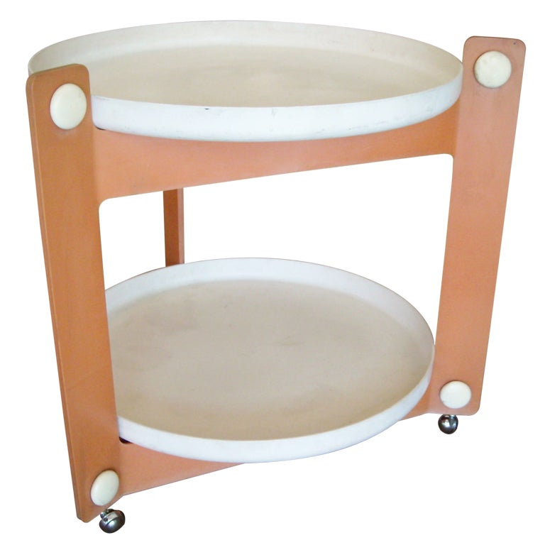 Guzzini Trolley, Tray Cart, Outdoor / Indoor, Signed For Sale