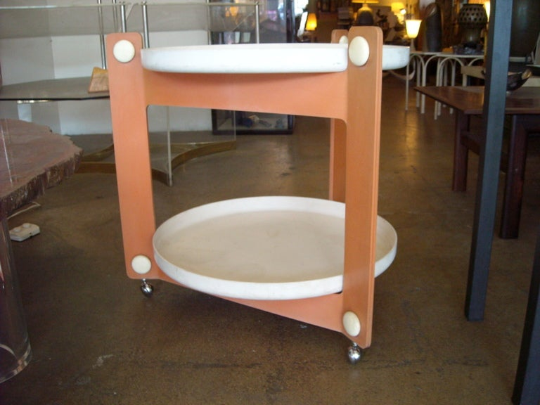 Mid-Century Modern Guzzini Trolley, Tray Cart, Outdoor / Indoor, Signed For Sale