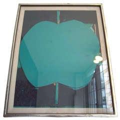 "Emerson Woelffer Collage Painting ""Apple"" Titled ""Green Mirror"" Dated"