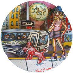 Pop Art, Red Grooms Ceramic Limited Edition Plate Sculpture, Moonstruck