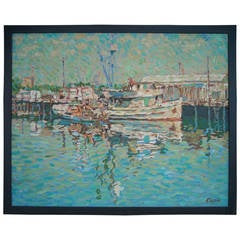 Eugene Kaspin Oil on Canvas Painting of Coastal or Seascape with Boats