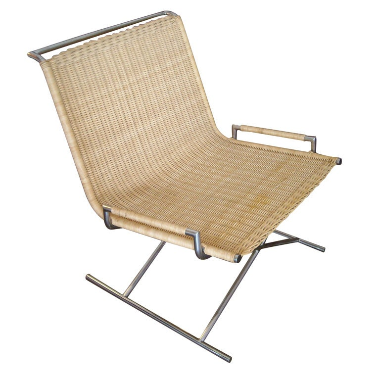 Ward Bennett sled chair in chrome and wicker at 1stdibs