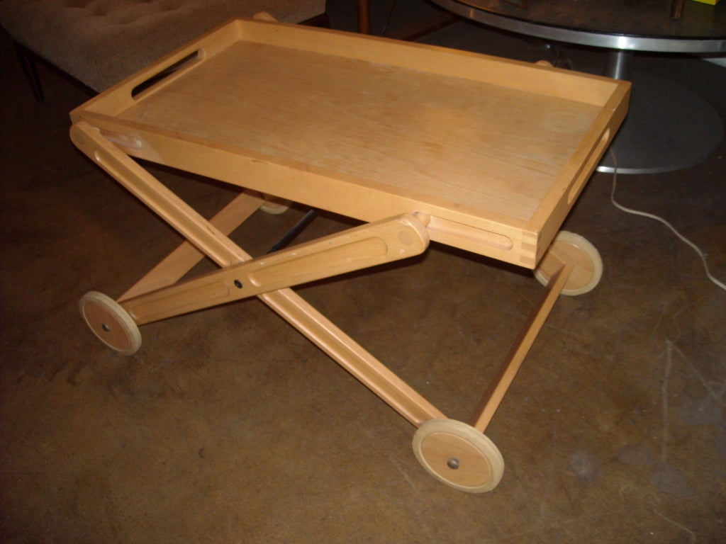 This is a folding and easy to carry bar cart. This rare Nissen has 3 collapsible positions till gets totally flat.