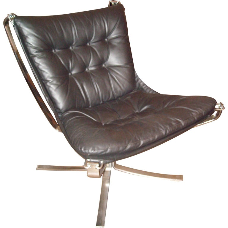 "Sigurd Ressell "" Falcon chair"" chrome and leather, restored new leather 1"