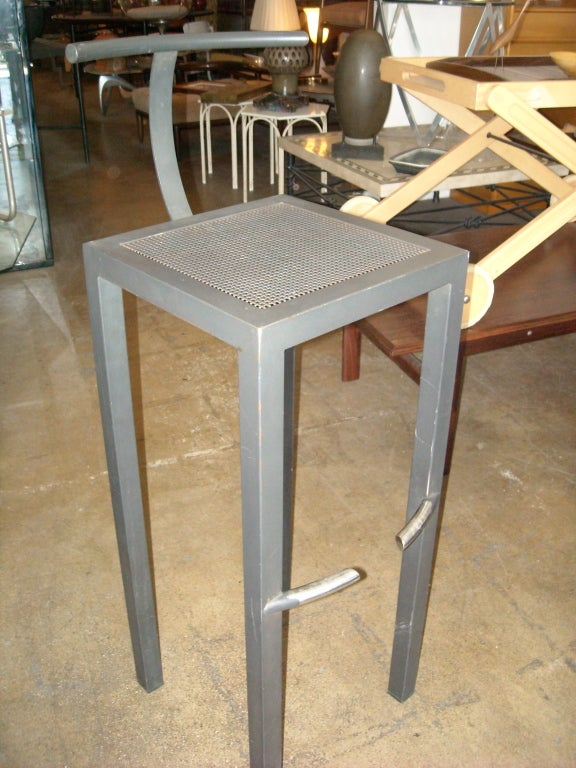 Philippe Starck Set Of 3 Bar Stools In Dark Grey By Aleph
