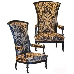 Antique Black and Tan Chairs