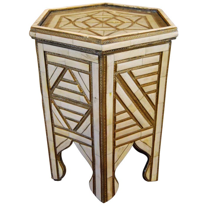 Pressed Tin And Bone Inlay Side Table At 1stdibs