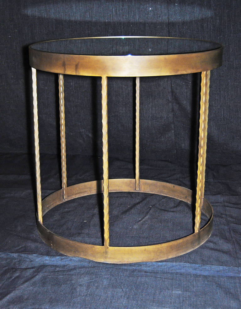 Rosette Side Table with Newer Steel Base and Glass Top, 2008 3