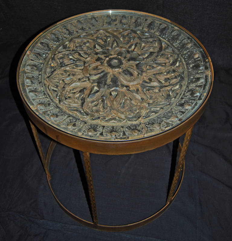 Rosette Side Table with Newer Steel Base and Glass Top, 2008 2