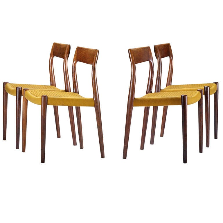 Set Of Four Rosewood Dining Chairs By Neils O M Ller At