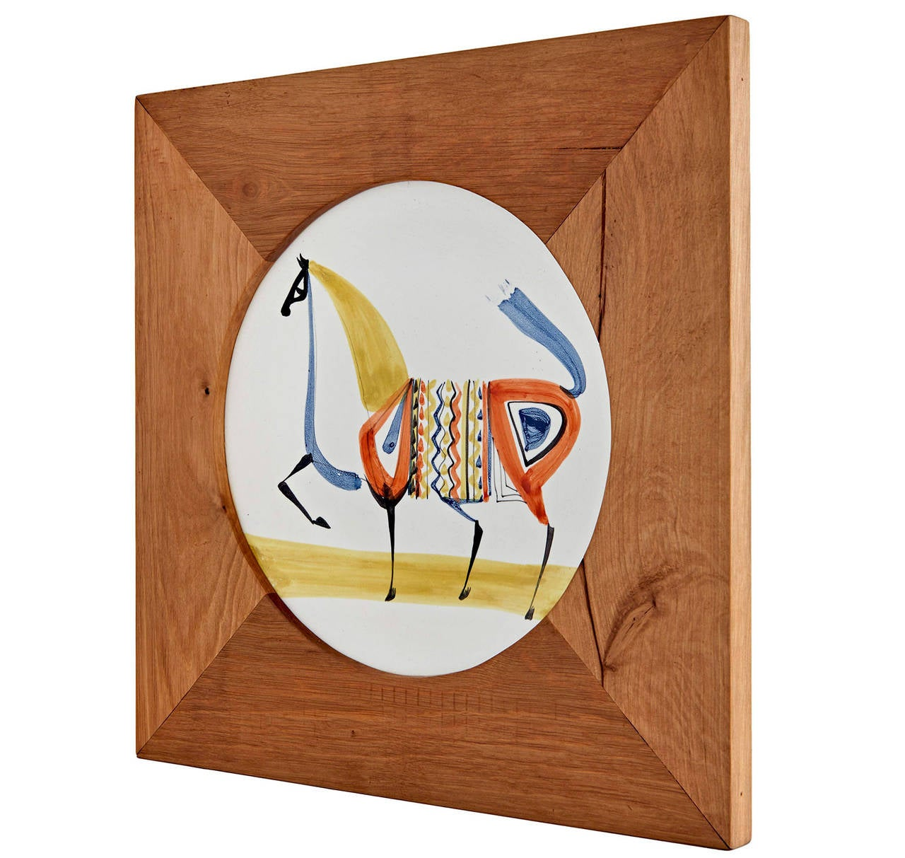 "Roger Capron's colorful, stylized horse resides in a solid hardwood frame custom-made for this piece. The plate itself measures 9.5 inches in diameter. As framed, the piece is 14 inches square. Signed ""CAPRON VALLAURIS M35."""