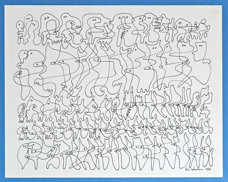 Ervin Neuhaus, an exponent of the Abstraction Organique movement, created this work by placing his pen on the paper, and without lifting it off, drawing - from left to right -  a continuous row of organisms, some vaguely anthropomorphic, all