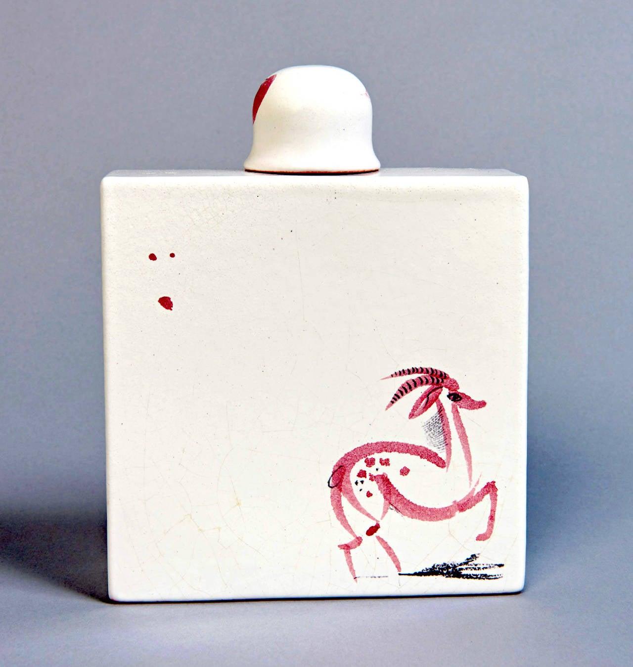 Scandinavian Modern Faience Decanter by Stig Lindberg For Sale