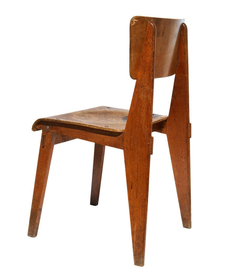 chaise en bois by jean prouv at 1stdibs. Black Bedroom Furniture Sets. Home Design Ideas