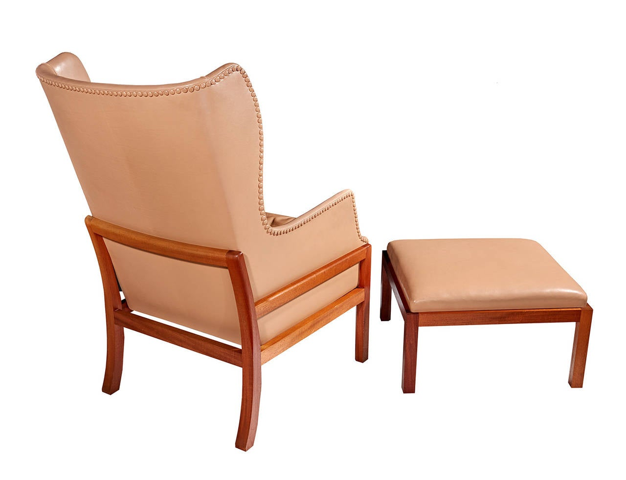 Wingback Chair and Ottoman by Mogens Koch at 1stdibs