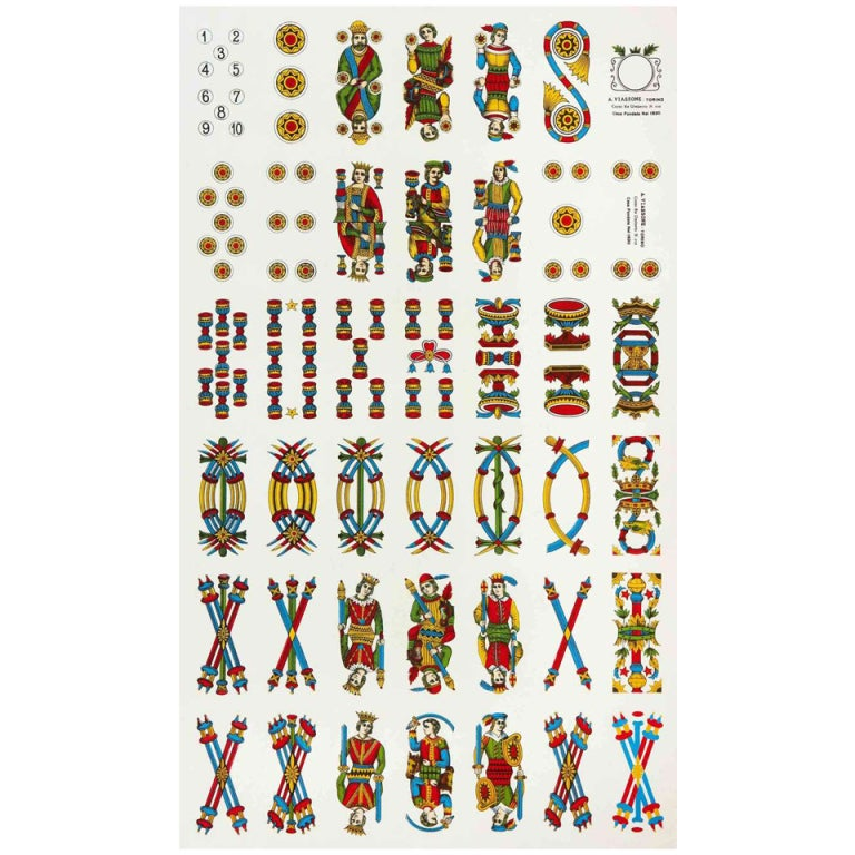 40 Best French Country Furniture Images On Pinterest: Uncut Lithographed Sheet Of Italian Playing Cards At 1stdibs