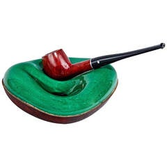 Ceramic and Leather Pipe Holder by Georges Jouve