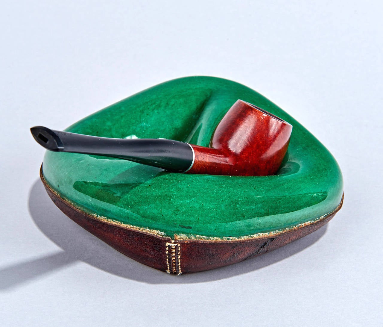 Ceramic and leather pipe holder by georges jouve for sale at 1stdibs