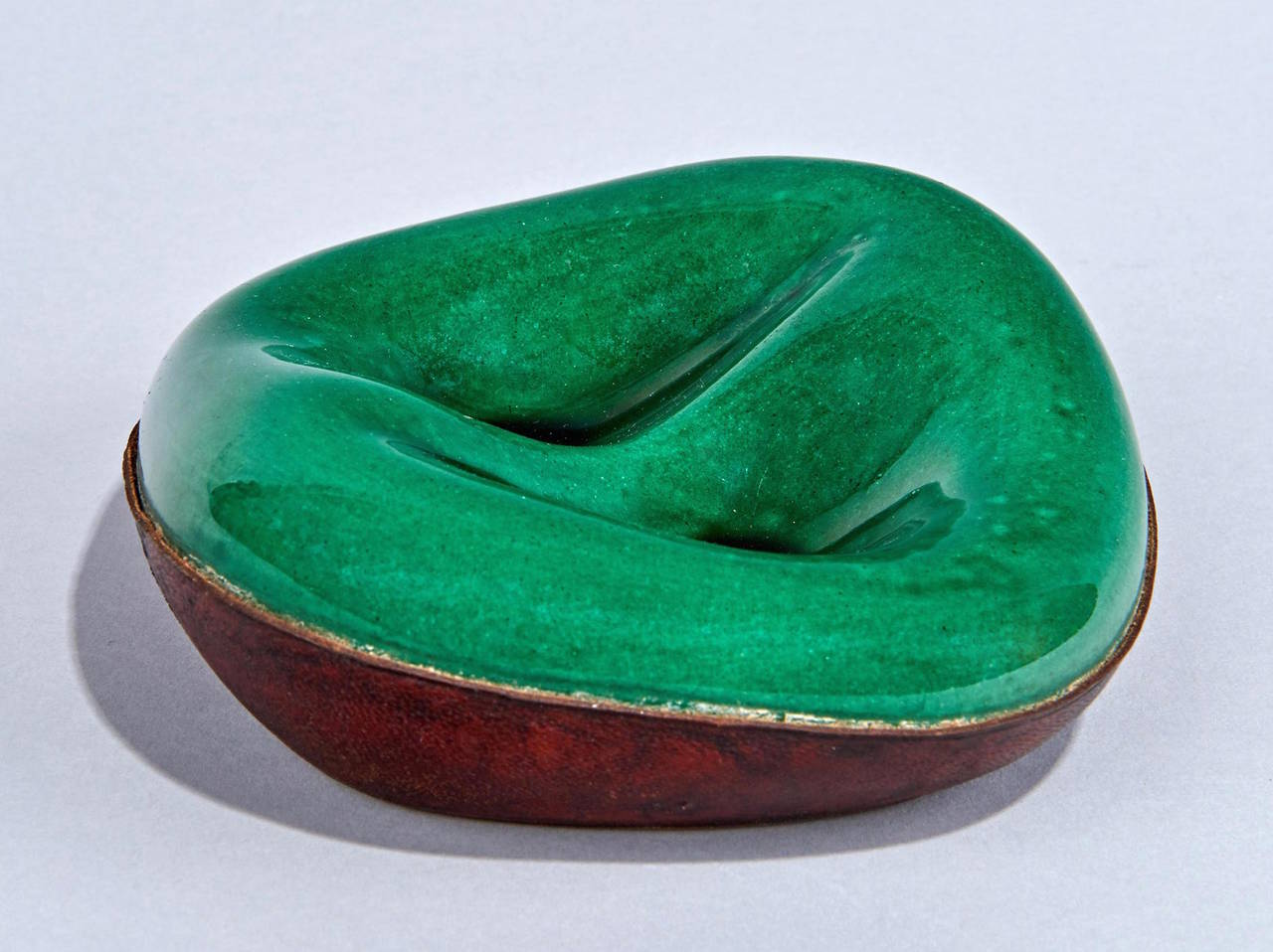 Mid-20th Century Ceramic and Leather Pipe Holder by Georges Jouve For Sale