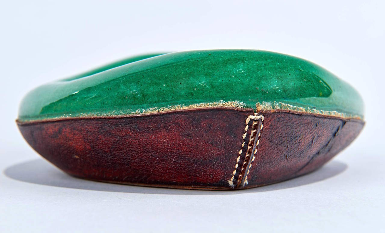 Glazed Ceramic and Leather Pipe Holder by Georges Jouve For Sale