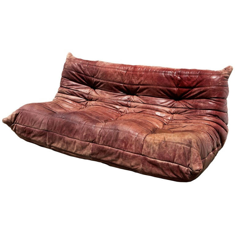 Vintage Leather Togo Sofa By Michel Ducaroy At 1stdibs