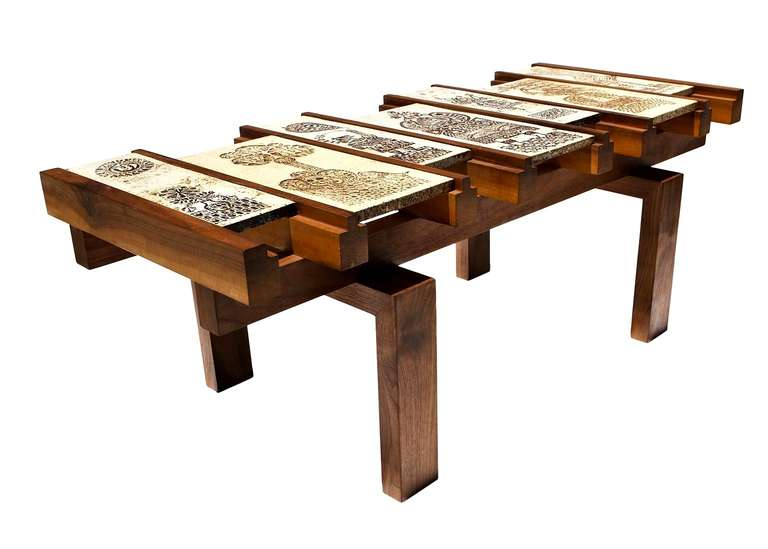 Coffee Table with Ceramic Panels by Roger Capron at 1stdibs