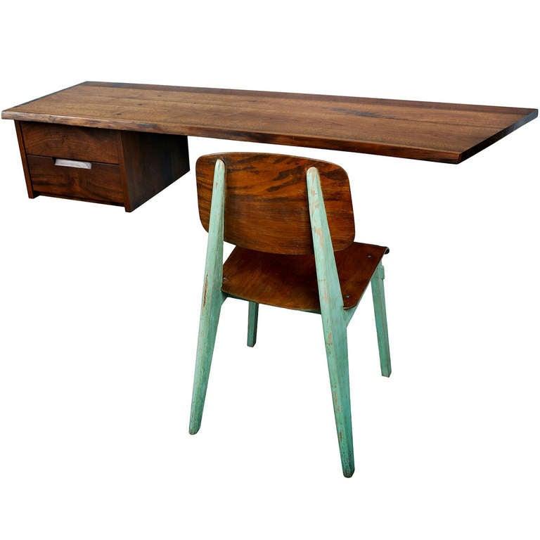 """George Nakashima """"Free Edge"""" Wall-Mounted Desk"""