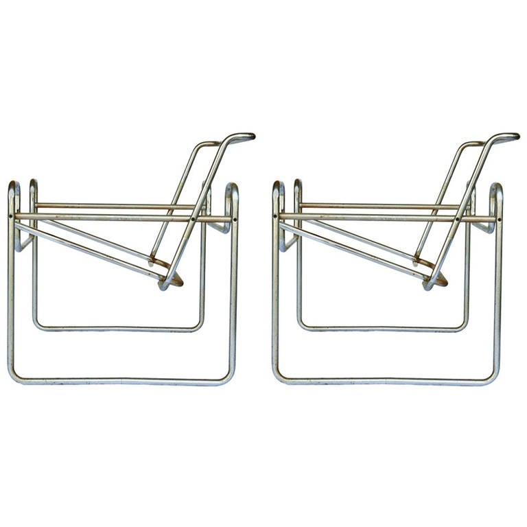 Pair of marcel breuer for knoll wassily chair frames at for Chaise wassily