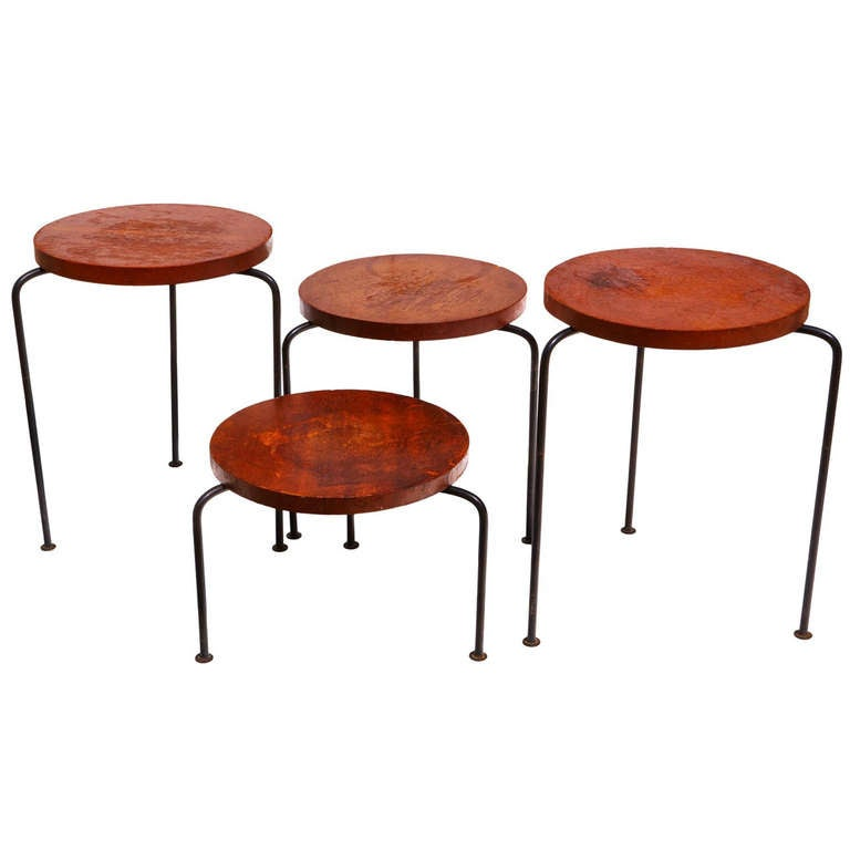 Set Of Four Stacking Stools Side Tables By Luther Conover