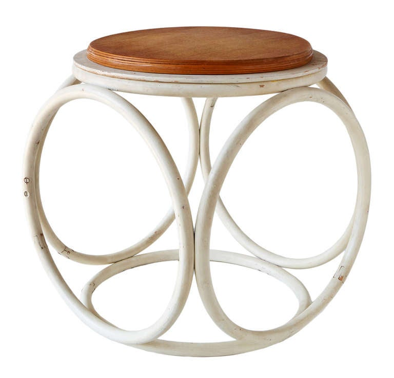 From Gebruder Thonet, the pioneering company to whom the rest of the modernist furniture movement was indebted. With a frame made up entirely of six circular wooden hoops fastened together, this lovely stool from the beginning of the 20th century is