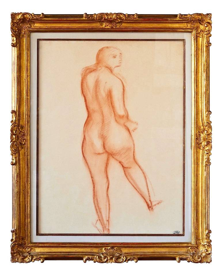 A drawing in sanguine (red chalk) on wove paper, by André Derain, the co-founder, with Henri Matisse, of fauvism. Ink-stamped with the artist's studio mark: [Atelier André Derain]. Nice gilt frame.