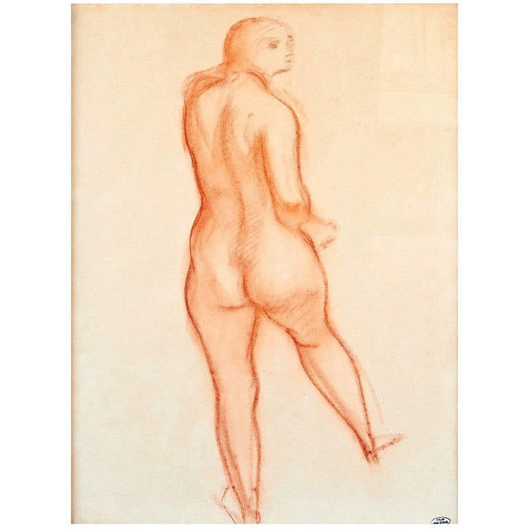 """Nu de Dos"" Drawing by André Derain, Late 1940s For Sale"