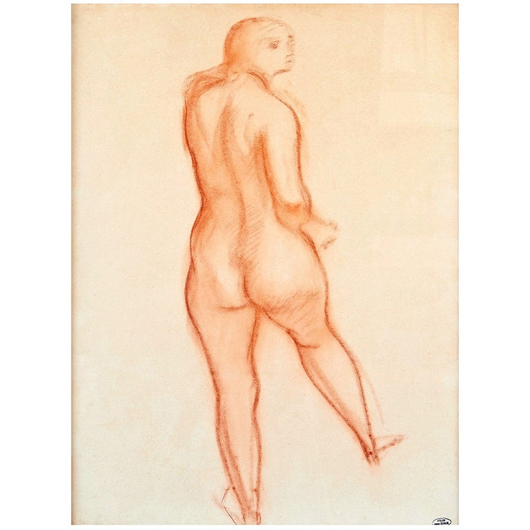 """""""Nu de Dos"""" Drawing by André Derain, Late 1940s For Sale"""